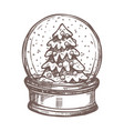 christmas card with snowglobe in sketch style vector image vector image