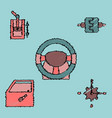 collection of icons and car parts in hatching vector image vector image