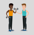 couple of athletes practicing sport vector image vector image