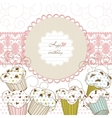 cupcakes background lace frame vector image vector image