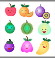 cute fruit flat icon set vector image
