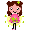 Cute little spring Girl with four leaf clovers vector image vector image