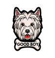 dog west highland white terrier bone good boy vector image vector image