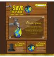 Ecological website design on a wooden background vector image
