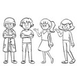 four characters with happy faces vector image vector image