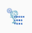fresh lobsters abstract sign symbol or vector image vector image