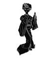 geisha black silhouette vector image