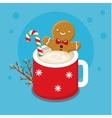 Gingerbread cookie man in a hot cup vector image vector image
