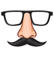 glasses and nose with mustache fake mask vector image vector image