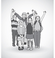 Group of happy children shadow gray scale vector image vector image
