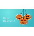 Halloween background with smiling pumpkins vector image