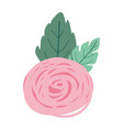 hand drawing pink color of bud rose flower with vector image vector image