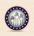 hands inside button of vote concept vector image vector image