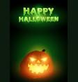 happy halloween text with jack o lantern vector image
