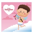 happy valentine day cupid shooting bow pink sky vector image