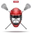 lacrosse sticks and helmet label vector image vector image