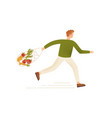 male running carry string or turtle bag full vector image vector image