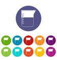 measuring cup icons set flat vector image vector image