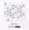 mind process concept in honeycombs vector image