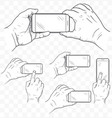 mobile phone in hands front view sketch hand vector image vector image