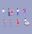 mobile photography video isometric set vector image