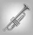 musical instrument trumpet sign pencil vector image vector image