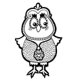 original artwork of owl ink hand drawing in ethnic vector image