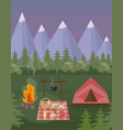 picnic and camping tent mountains background vector image