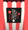 popcorn cut black lettering lable with shadow vector image