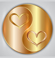 Round yin yang medallion with hearts and gold vector image