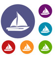 sailing yacht icons set vector image vector image