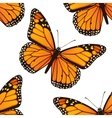 Seamless pattern with monarch butterflies vector image