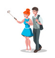 selfie woman and man isolated vector image vector image
