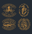 set badges for seafood theme with octopus vector image vector image