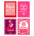 set of poster with congratulations on women s day vector image