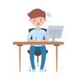 stressed employee working with computer in desk vector image