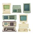 vintage desktop computers and vector image