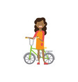 young african girl hold bicycle on white vector image