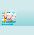 young caucasian woman with supermarket trolley vector image vector image