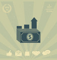 dollar stack icon money growth concept vector image