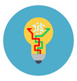 light bulb icon on blue round background new idea vector image