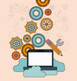 background with laptop computer and storage cloud vector image vector image