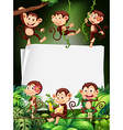 Border design with monkeys in the forest vector image vector image
