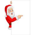 cartoon santa claus showing a blank sign vector image vector image
