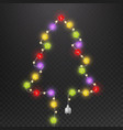 christmas tree with light garland fir-tree shape vector image