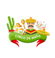 cinco de mayo banner with mexican symbols and vector image vector image