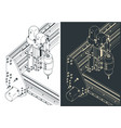 cnc machine for 3d carving isometric blueprints vector image vector image