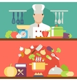 cooking concept flat icons set vector image