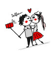 couple in love do photos with mobile smart phone vector image vector image