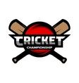 Cricket sports label badge emblem vector image vector image